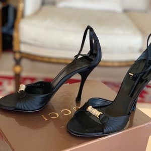 Gucci heels size 6. Black satin with detail! Sexy